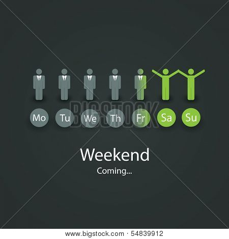 Weekend Coming Soon - Vector Illustration