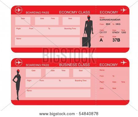 Vector image of airline boarding pass tickets