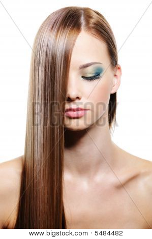 Long straight smooth gloss female hair - isolated poster