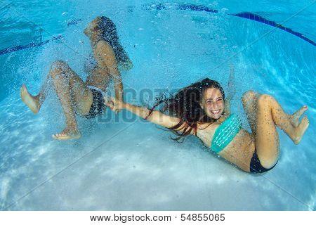 Girls Playing Underwater