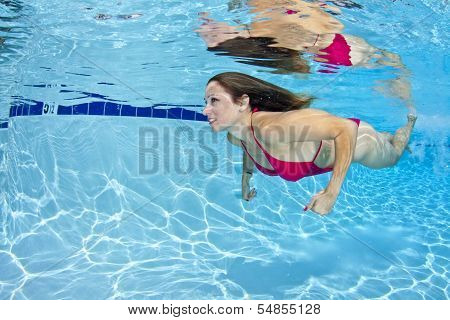 Woman In Red Bikini Underwater