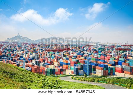 Container Yard Under The Blue Sky