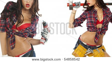 Sexy brunette with an ax in his hand, isolated on white background