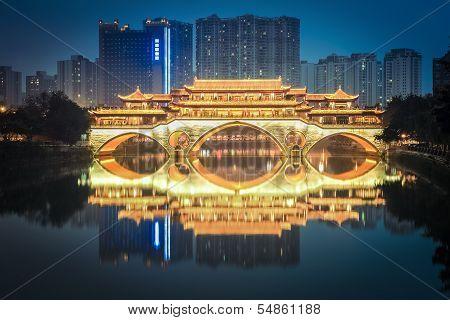Anshun Bridge In Chengdu At Night