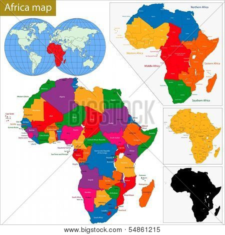 Colorful Africa map with countries