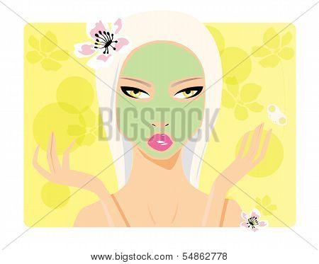 Beautiful girl, beauty cosmetics, applying face mask, vector