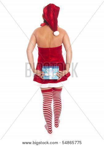 Attractive Woman With Santa Claus Outfit And Present