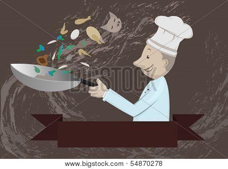 Chef Prepare For Food  In Kitchen