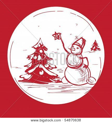 Sketch Christmas symbol snowman with tree