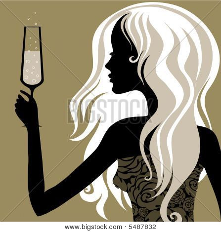 Vintage Blond Woman With Glass Of Champagne