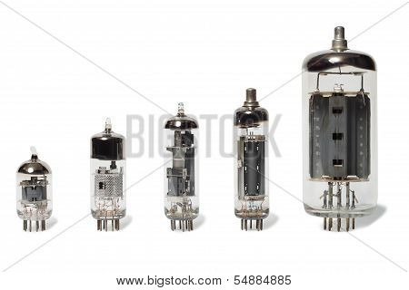 Set of old vacuum tubes on white background. poster
