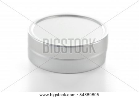 Metallic Tin On White Background.