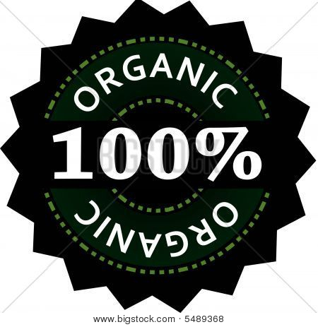 100% Organic Label, Vector