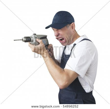 Portrait Of Worker In Blue Uniform With Drill Isolated On White Background