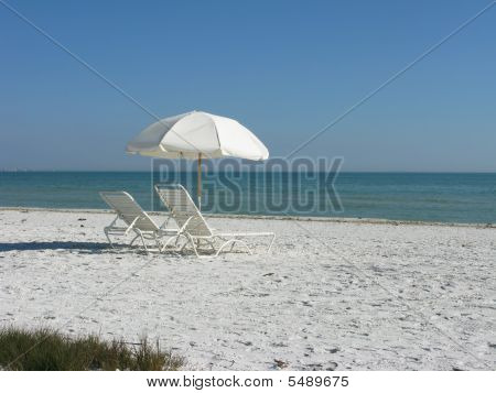 Beach Umbrella With Chairs