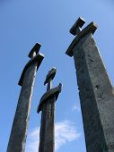 three swords at hafrsfjord in norway, a monument for the vikings poster