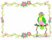 Here is a tropical frame with vines hibiscus flowers and a Parrot on a perch. poster