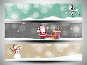 Merry Christmas celebration website header or banner set decorated with Santa Claus, Snowman and gift boxes. poster