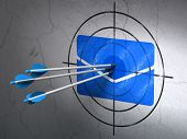 Success business concept: arrows hitting the center of Blue Email target on wall background, 3d render poster