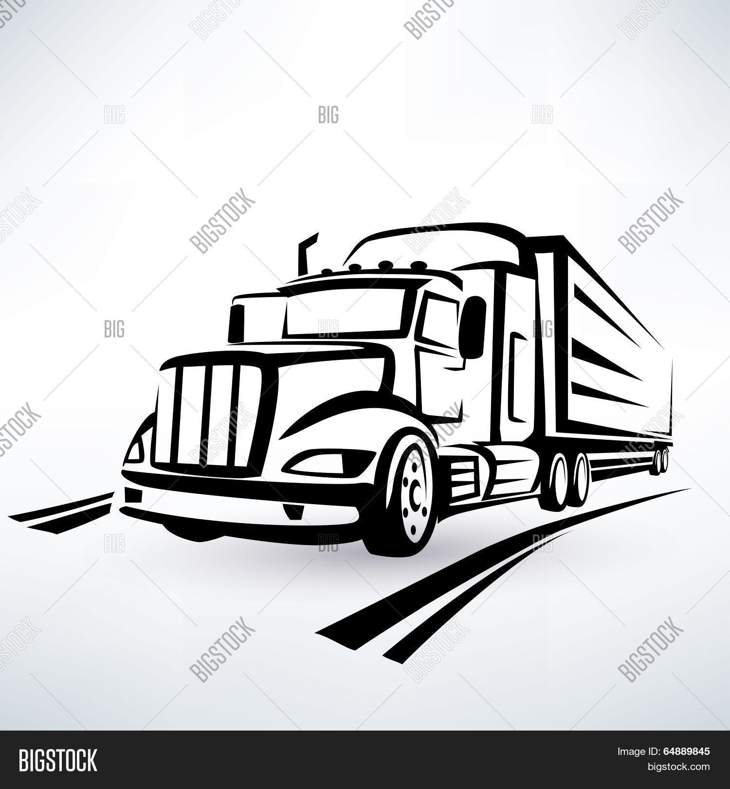 American Lorry Vector Silhouette, Vector & Photo | Bigstock