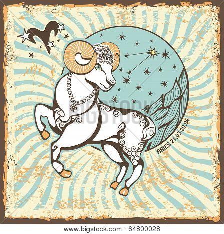 Aries  Zodiac Sign.vintage Horoscope Card