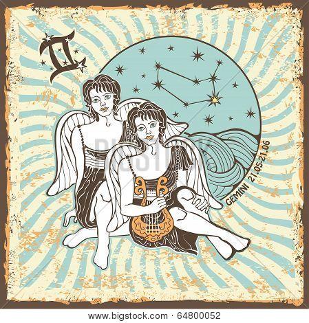 Gemini Boys Zodiac Sign.vintage Horoscope Card