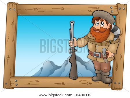 Cartoon trapper in wooden frame - color illustration. poster