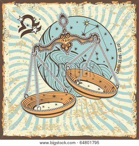 Libra Zodiac Sign.vintage Horoscope Card