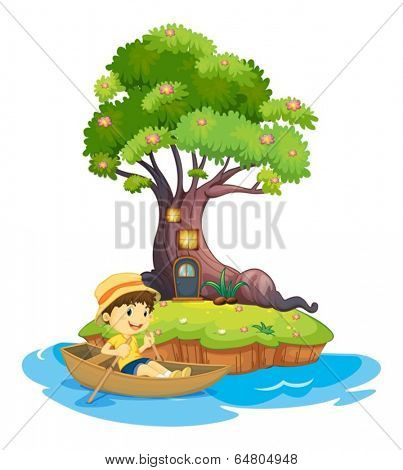 Illustration of a boy boating on a white background