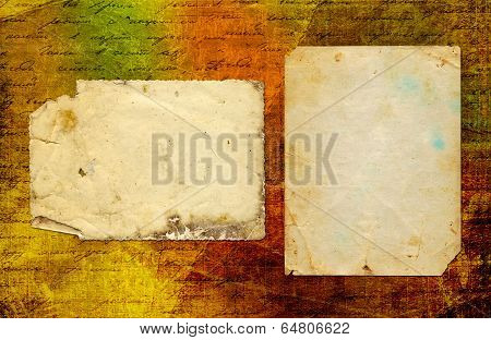 Grunge Abstract Paper Background With Old Photo And Handwrite Text For Design