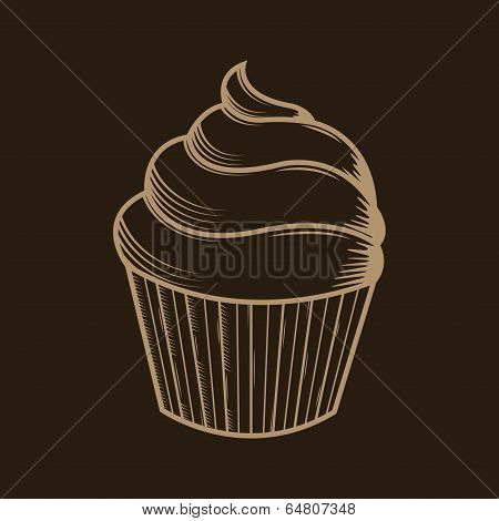 Graphic Cream Cupcake Isolated On Brown Background. Beige Outlines. Vector Illustration.