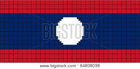 Vector Flag of Laos in 8bit style.