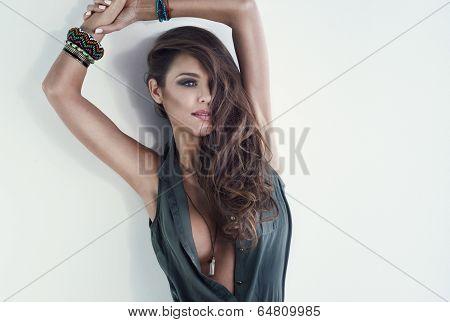 Attractive Brunette Woman Looking Away