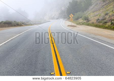 Foggy road in California Pacific Highway Route 1 US 101 USA