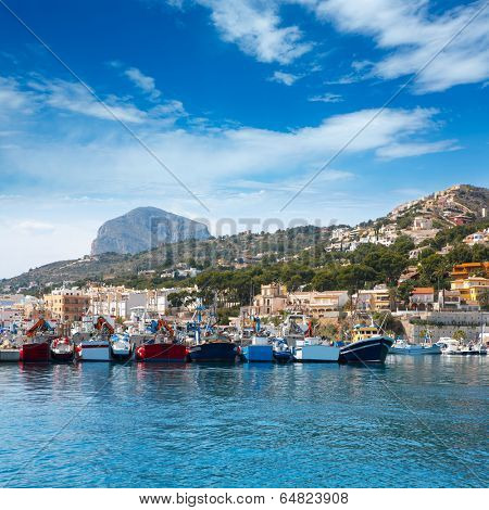 Javea Xabia port marina with Mongo mountain in Alicante Spain poster
