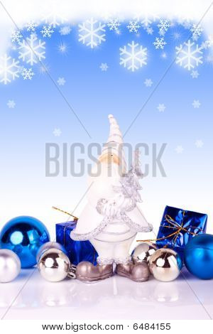 Santa On Blue Background With Snowflakes