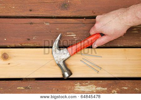 Repairing Old Wooden Boards On Deck
