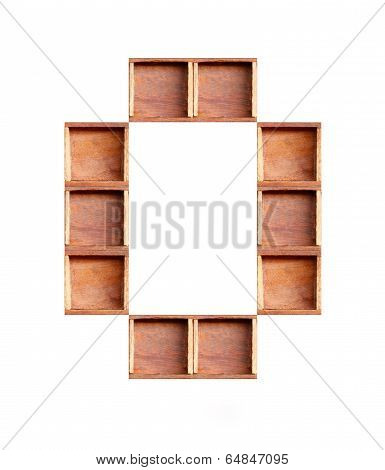 Wooden Box Made Of Consonant  Isolated On White Background