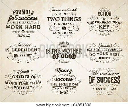 Set of Quotes Typographical Posters, Vector Design. Motivational Success Quotes for Inspirational Art.