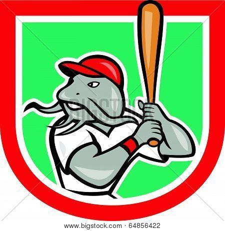 Catfish Baseball Hitter Batting Cartoon Shield