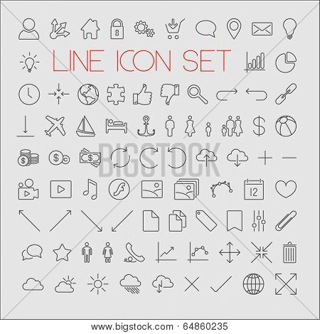 Big modern Vector thin line icon collection