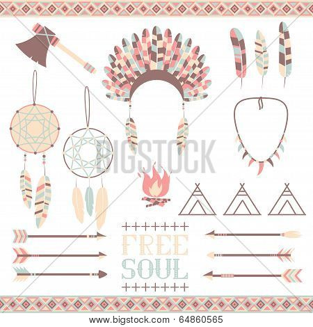 Arrows, Indian elements, Aztec borders and embellishments poster