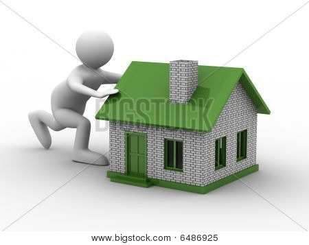 Men Push House On White Background. Isolated 3D Image