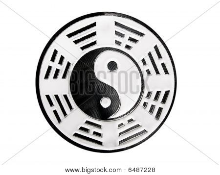 black and white yin yang symbol with trigrams poster