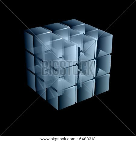 abstract transparent cube in light blue color 3d illustration poster