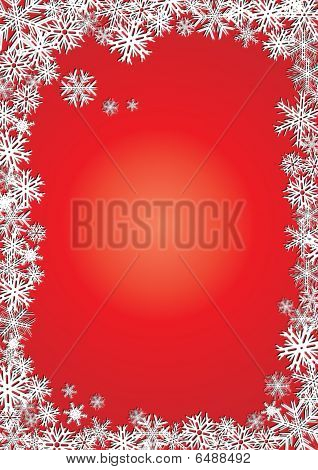 Background new year red snowflakes