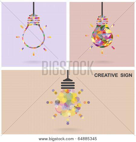 Creative Light Bulb Idea Concept,business Idea ,abstract Background.