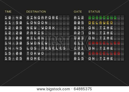Departures list on digitally generated black mechanical board poster