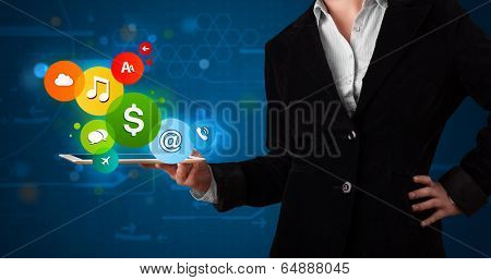 Young lady presenting colorful modern signs
