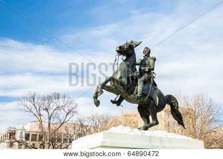 A statue by Clark Mills, in Layfayette Square, Washington, DC, of President Andrew Jackson riding his horse. Jackson was the seventh president of the United States from 1829 to 1837.